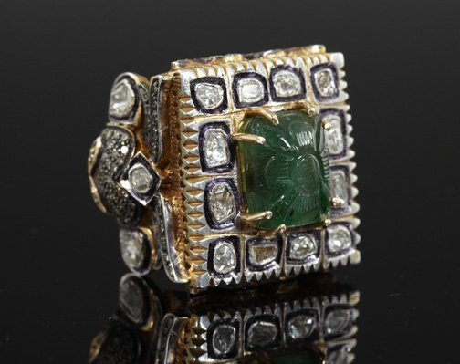 846: Silver, Gold, Emerald and Diamond Ring,