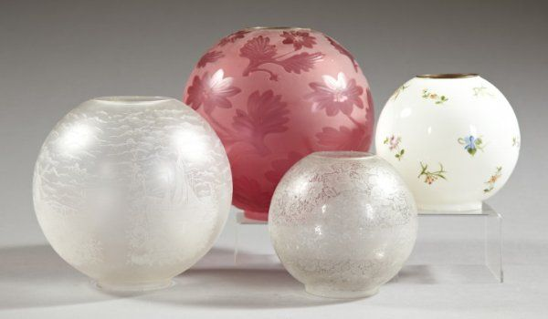 Group of Four Late Victorian Glass Ball Shades