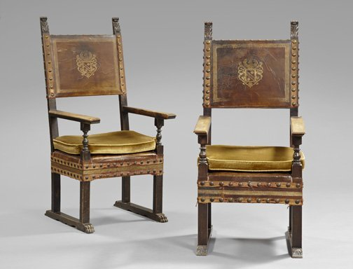 1: Baronial-Style Iberian Mahogany Hall Chairs