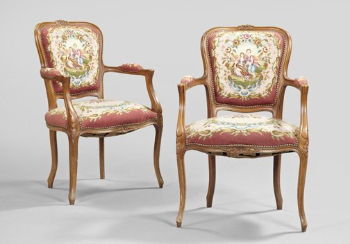 12: Pair of Provincial Louis XV-Style Fauteuils,