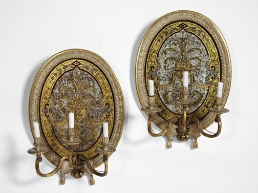 16: Pair of Louis XVI-Style Three-Light Appliques