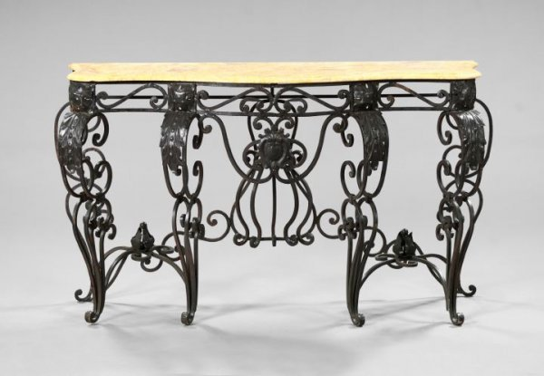17: Wrought-Iron and Marble-Top Side Table