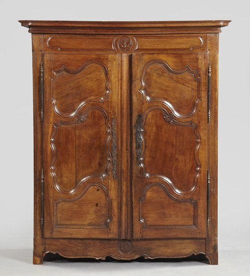 22: French Provincial Oak Armoire,