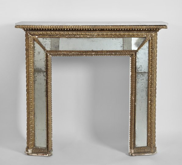 718: Italian Giltwood and Mirrored Fireplace Surround