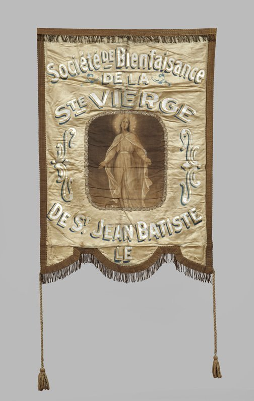 801: French Silver- and Blue-Painted Silk Banner,