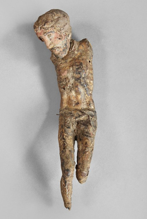 805: Spanish Colonial Polychromed Wooden Corpus