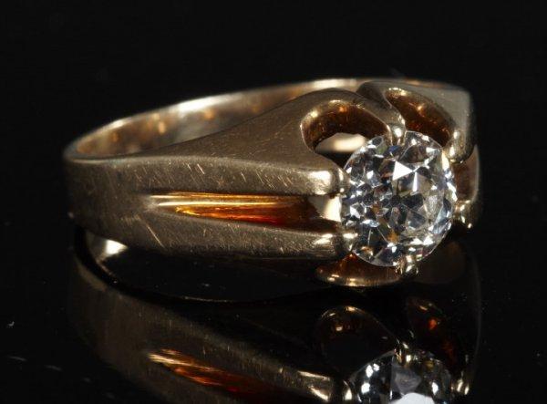 824: Fourteen-Karat Yellow Gold and Diamond Ring,