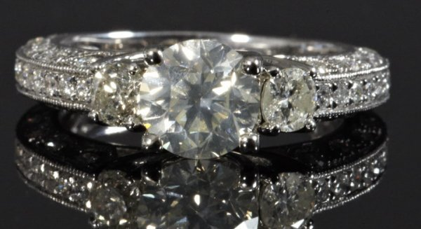 826: Fourteen-Karat White Gold and Diamond Ring,