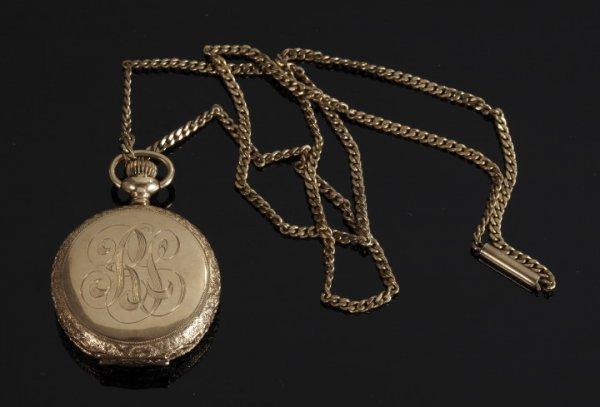 851: Gold Lady's Waltham Hunt Case Watch