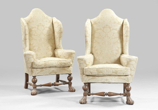 8: Pair of Flemish Walnut Wing Chairs,