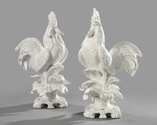 9: Good Pair of Italian Bianco Majolica Figures