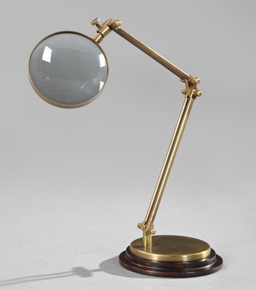 188: Edwardian-Style Brass Collector's Desk Magnifier