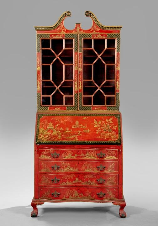 189: George III-Style Chinoiserie-Lacquered Secretary