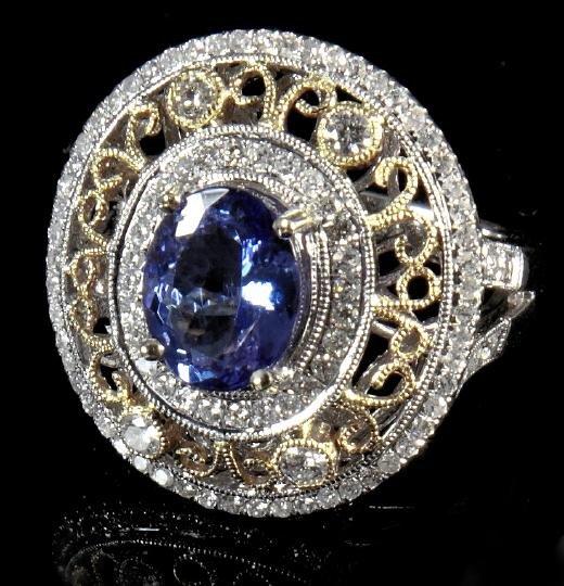 859: Gold, Tanzanite and Diamond Dinner Ring