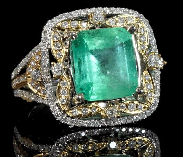 864: Gold, Emerald and Diamond Dinner Ring