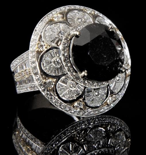 872: Gold and Black and White Diamond Dinner Ring