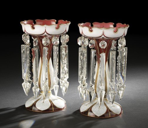 1053: Tall Pair of Anglo-Bohemian Glass Lustres,
