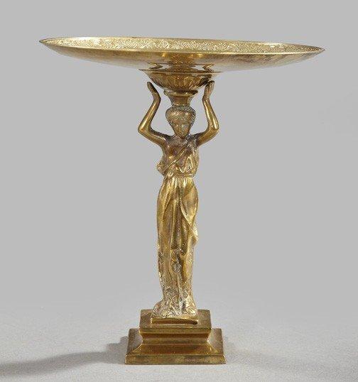 427: Napoleon III Polished Gilt-Bronze Figural Tazaz