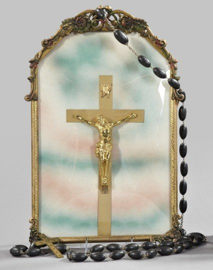 806: Shadowboxed Crucifix and Last Rites Rosary,
