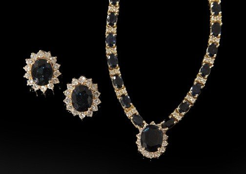 820: Gold, Sapphire and Diamond Demi-Parure