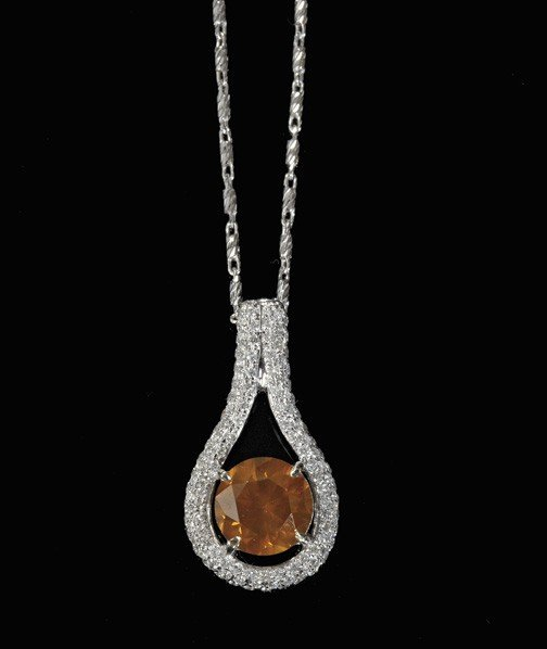 825: Rare Fancy Orange Diamond Pendant,