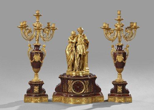 973: Three-Piece Napoleon III Mantel Garniture