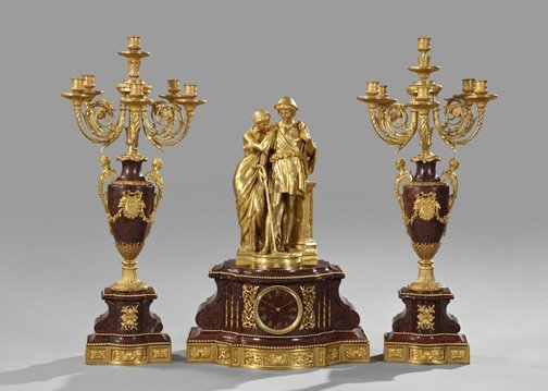 973: Three-Piece Napoleon III Mantel Garniture