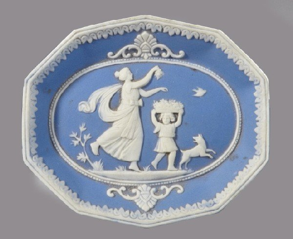 3: German Blue and White Jasper Octagonal Plaque