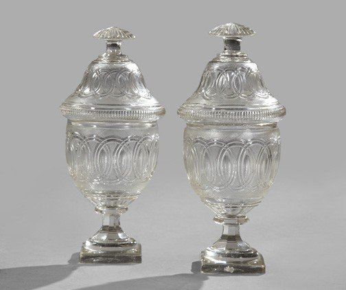 8: Anglo-Irish Cut Glass Covered Chestnut Vases