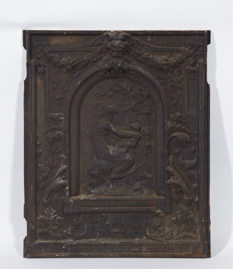 24: Victorian Cast-Iron Allegorical Scenic Fireplace Ba