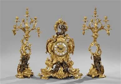 264: Opulent Napoleon III Bronze Mantel Garniture