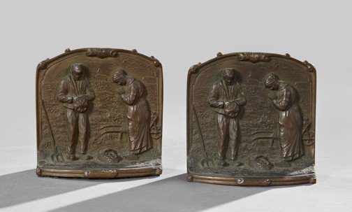 360: Belle Epoque Bronze-Patinated Cast-Iron Bookends