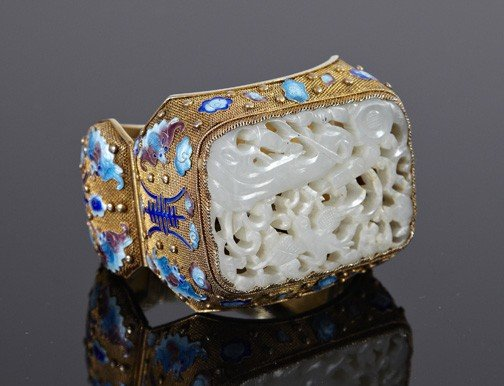 707: Chinese Jade, Silver-Gilt and Enamel Cuff Bracelet