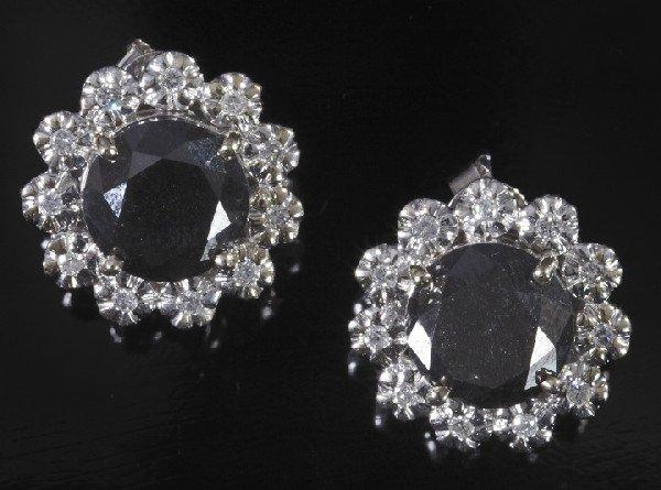 744: Gold, Black and White Diamond Cluster Earrings