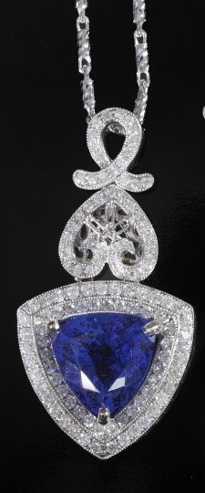 748: Gold, Tanzanite and Diamond Pendant