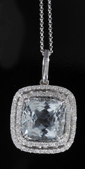 750: Gold, Aquamarine and Diamond Lady's Pendant