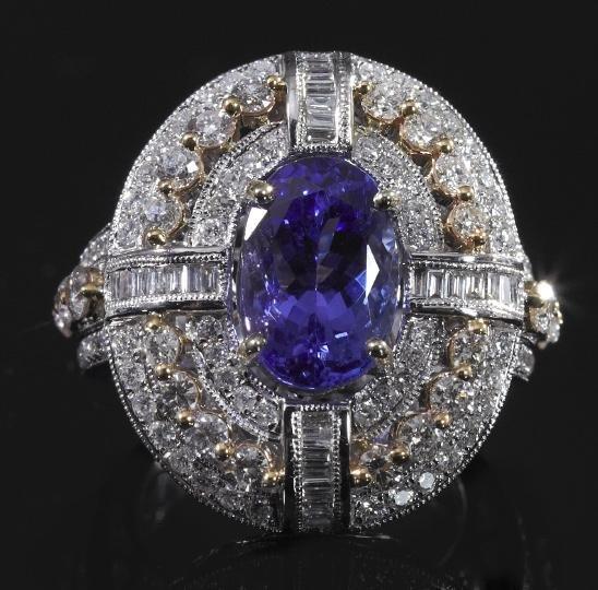 753: Gold, Tanzanite and Diamond Lady's Ring