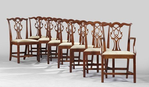 3: Eight Chippendale-Style Mahogany Sidechairs