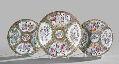 8: Chinese Export Rose Medallion Porcelain Plates