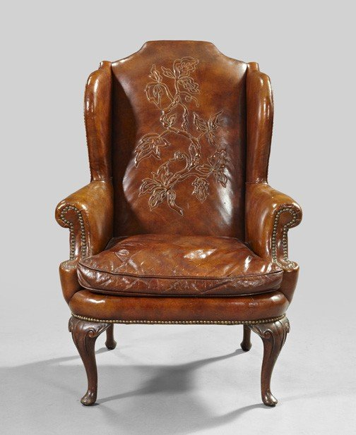 12: Queen Anne-Style Leather Wing Chair