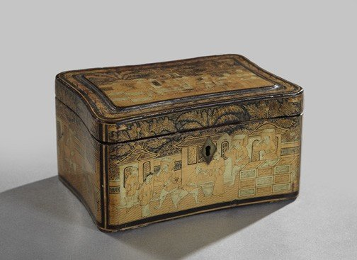 15: Chinese Export Black Lacquer Tea Box