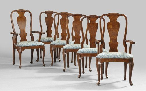 20: Queen Anne-Style Burl Walnut Dining Chairs