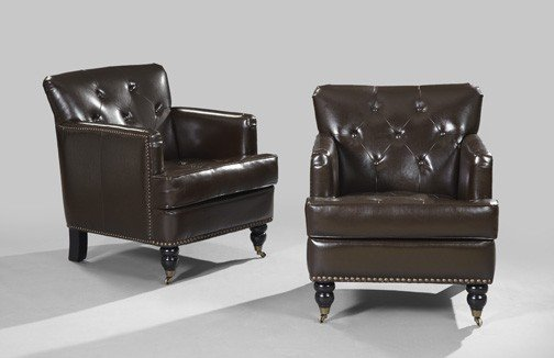 21: Edwardian-Style Mahogany-Stained Club Chairs