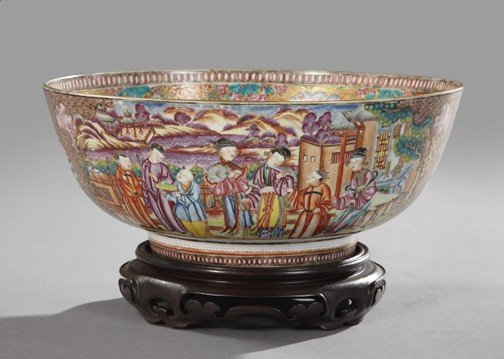22: Chinese Export Rose Canton Porcelain Punchbowl