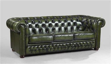 29: Edwardian-Style Green Leather Chesterfield Sofa