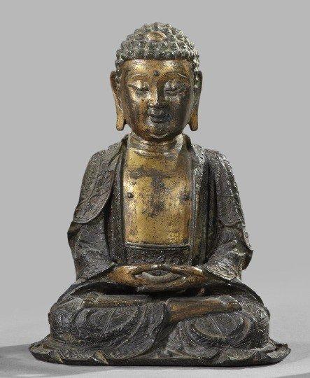701: Chinese Bronze Figure of the Seated Buddha,