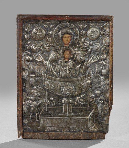 726: Russian Polychromed Wooden Ikon,