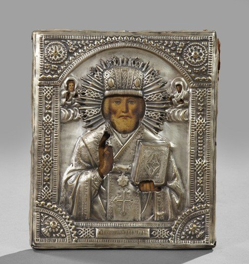 727: Russian Polychromed Wooden Ikon,