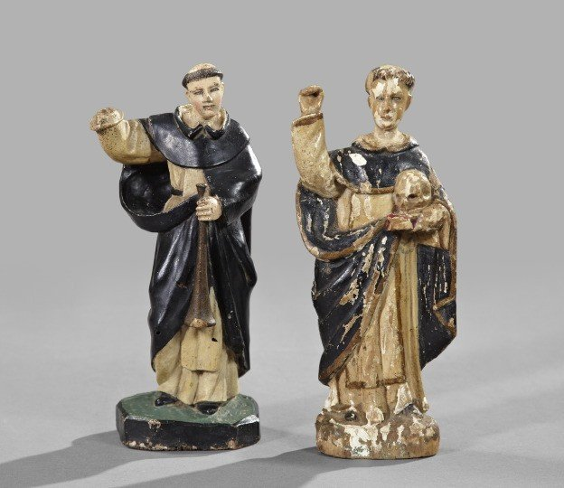 733: Two Spanish Colonial Carved and Painted Figures