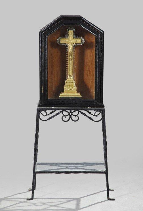 737: French Silvered Brass Crucifix Music Box